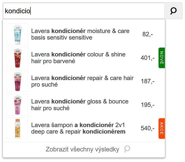 Ukákza standardního našeptávače produktů pro vyhledávání v internetovém obchodě